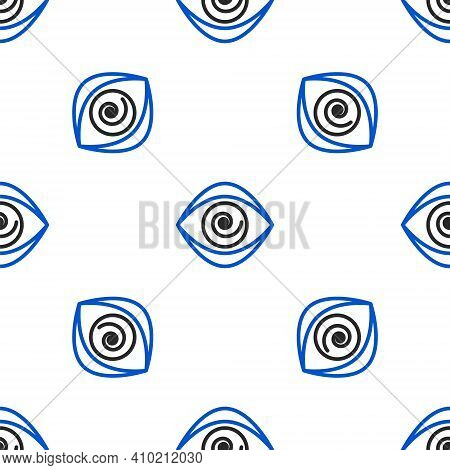 Line Hypnosis Icon Isolated Seamless Pattern On White Background. Human Eye With Spiral Hypnotic Iri