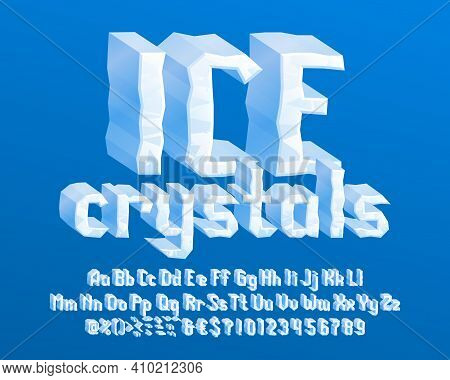 Ice Crystals Alphabet Font. 3d Cartoon Narrow Letters, Numbers And Symbols. Uppercase And Lowercase.