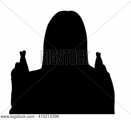 3d Illustration, 3d Rendering. Silhouette Of Woman Showing Crossed Fingers For Good Luck. Crossed In
