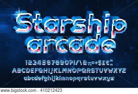 Starship Arcade Alphabet Font. Pixel 3d Letters, Numbers And Punctuations. Pixel Background. 80s Arc