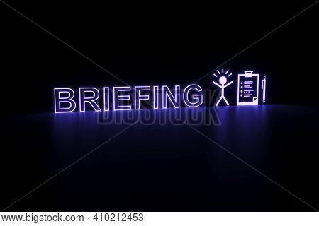 Briefing Neon Concept Self Illumination Background 3d Illustration