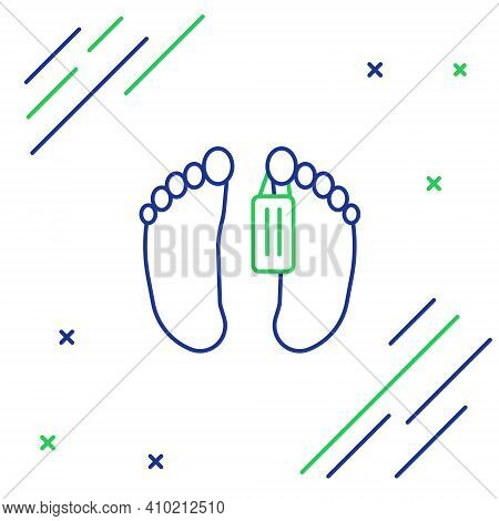 Line Dead Body With An Identity Tag Attached In The Feet In A Morgue Of A Hospital Icon Isolated On