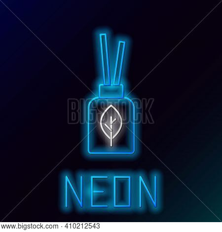 Glowing Neon Line Aroma Diffuser Icon Isolated On Black Background. Glass Jar Different With Wooden