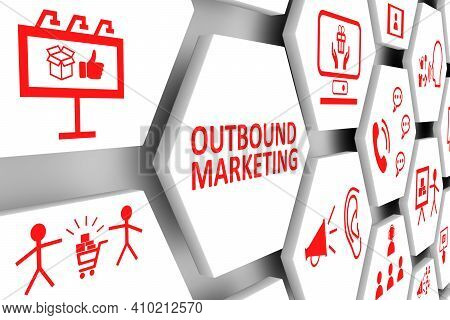 Outbound Marketing Concept Cell Background 3d Illustration