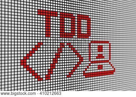 Tdd Text Scoreboard Blurred Background 3d Illustration