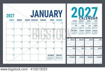 Calendar Planner 2027 Year. English Template. Vector Square Grid. Office Business Planning. Creative