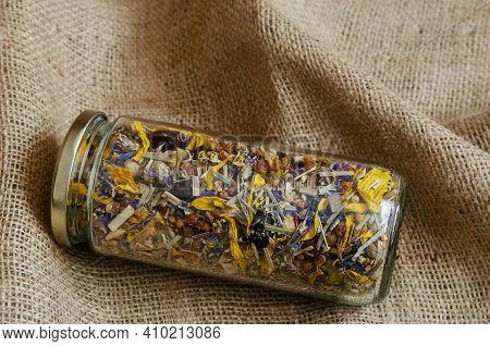 Herbal And Alternative Medicine Concept. Drinks Based On Medicinal Herbs And Flowers.  Dried Flower