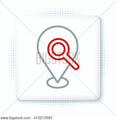 Line Search Location Icon Isolated On White Background. Magnifying Glass With Pointer Sign. Colorful