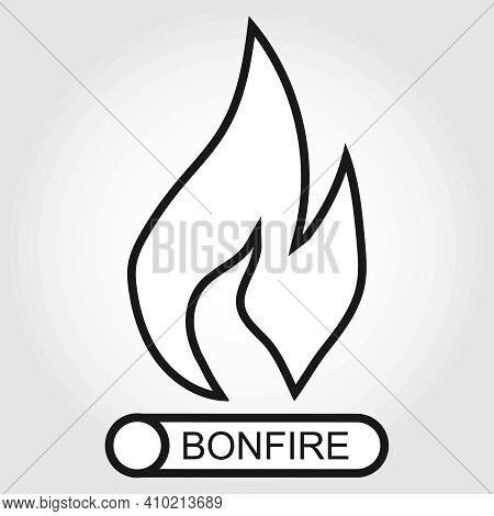 Bonfire Icon, Black Bonfire Icon Isolated On White Background. Vector, Cartoon Illustration. Vector.
