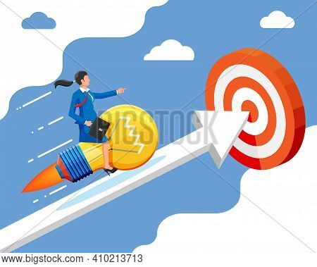 Businesswoman Sits On Flying Rocket Light Bulb On Graph Chart. Success Career Growth. Achievement, G