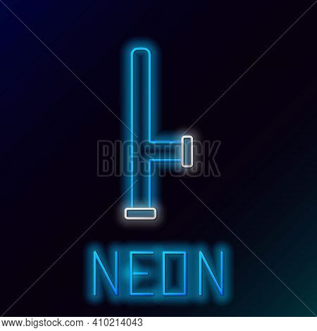 Glowing Neon Line Police Rubber Baton Icon Isolated On Black Background. Rubber Truncheon. Police Ba