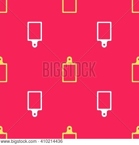 Yellow Cutting Board Icon Isolated Seamless Pattern On Red Background. Chopping Board Symbol. Vector
