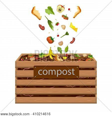 Wooden Compost Box, Bin With Food Waste Illustration. Garden Composter For Organic Recycling Of Kitc