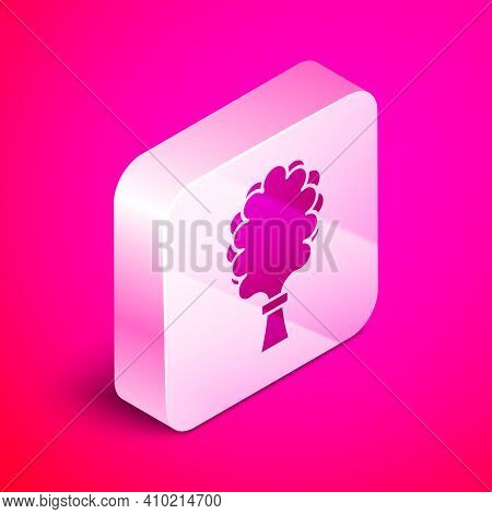 Isometric Sauna Broom Icon Isolated On Pink Background. Broom From Birch Twigs, Branches For Russian