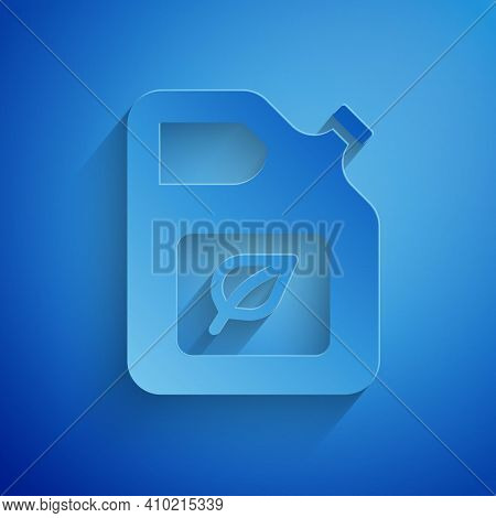 Paper Cut Bio Fuel Canister Icon Isolated On Blue Background. Eco Bio And Barrel. Green Environment