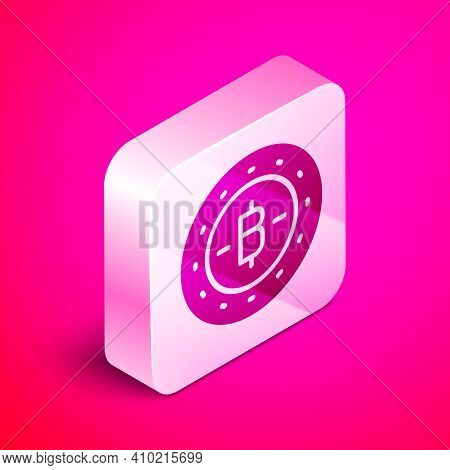 Isometric Cryptocurrency Coin Bitcoin Icon Isolated On Pink Background. Physical Bit Coin. Blockchai