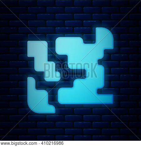 Glowing Neon Gaseous Icon Isolated On Brick Wall Background. Changing The State Of Matter In Gas. Ve