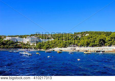 Hvar, Croatia - October 2, 2011: View Of Amfora Grand Beach Resort And Hvar Island On A Sunny Day
