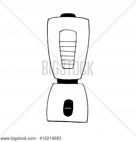 Blender Icon, Sticker. Sketch Hand Drawn Doodle Style. Vector, Minimalism, Monochrome. Kitchen, Tool