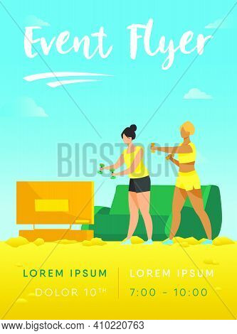 Active Women Doing Video Exercise Together. Living Room, Aerobics, Health Flat Vector Illustration.