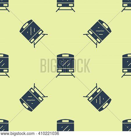 Blue Train Icon Isolated Seamless Pattern On Yellow Background. Public Transportation Symbol. Subway