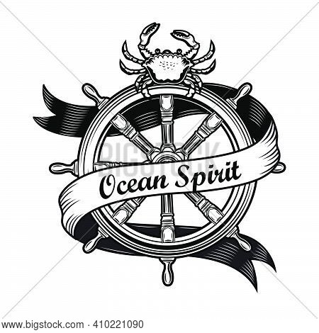 Cruise Emblem Design. Monochrome Element With Vintage Rudder, Crab Vector Illustration With Text On