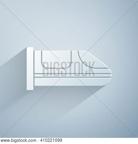Paper Cut High-speed Train Icon Isolated On Grey Background. Railroad Travel And Railway Tourism. Su
