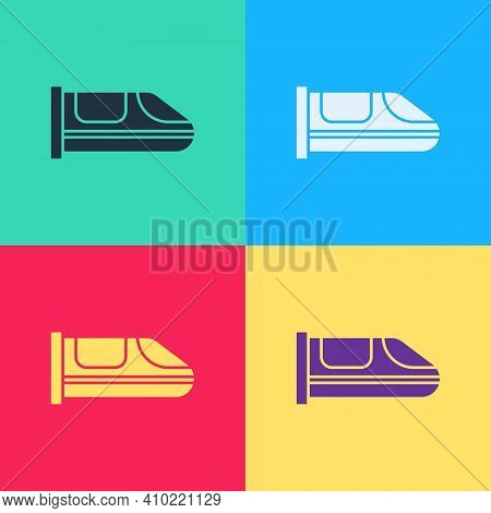 Pop Art High-speed Train Icon Isolated On Color Background. Railroad Travel And Railway Tourism. Sub