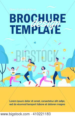 Dad, Mom And Kids Running Together In Park Isolated Flat Vector Illustration. Happy Cartoon Man, Wom