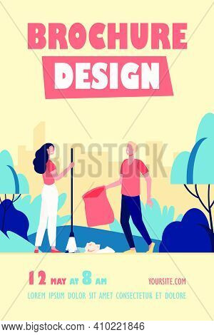 Happy Couple Picking Up Litter Outdoors. Young People Cleaning Park From Garbage Flat Vector Illustr