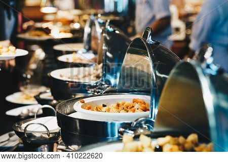Crowd Of People Enjoying Buffet Food Meal Dining Food Options Eating Concept