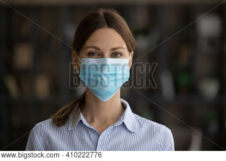 Profile Picture Of Caucasian Woman In Facemask From Coronavirus