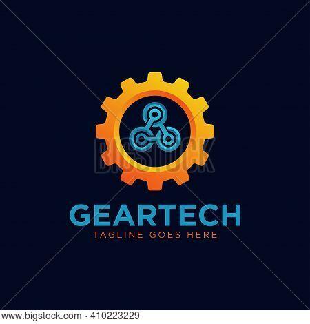 Gear Tech Logo Design Template Vector Illustration