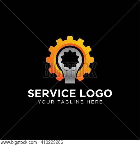 Auto Repair Services, System Administrators, Car Service. Vector Illustration With Wrench Sign In Or