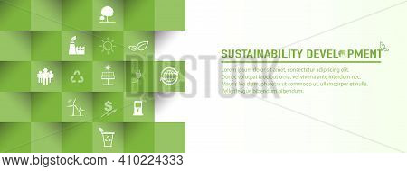 Banner Design For Sustainability Development And Global Green Industries Business Concept, Vector Il
