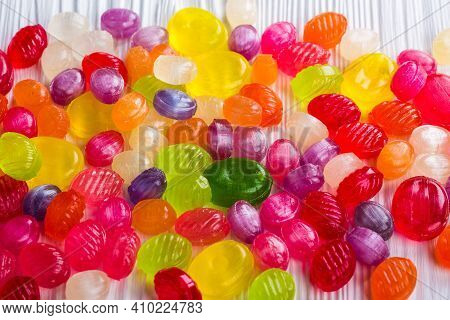 Caramel Candy On The Table With Various Colors