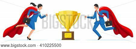 Business Competition Concept. Businesswoman And Businessman Competing To Get Gold Trophy. Rivalry Be