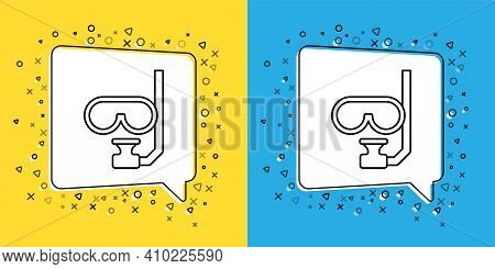 Set Line Diving Mask And Snorkel Icon Isolated On Yellow And Blue Background. Extreme Sport. Diving