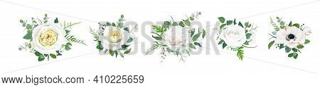 Vector Floral Bouquet Set, Editable Design Elements. Light Yellow Garden Cabbage And Peony Roses, Wh