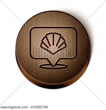 Brown Line Scallop Sea Shell Icon Isolated On White Background. Seashell Sign. Wooden Circle Button.