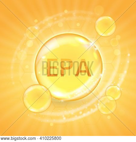 Epa From Omega-3 Fatty Acid Supplement, Shiny Oil Vitamin Capsule. Fish Oil Droplet Design Template