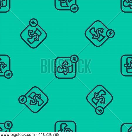 Blue Line Mobile Stock Trading Concept Icon Isolated Seamless Pattern On Green Background. Online Tr