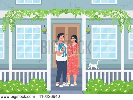 Young Happy Family Outside New Home Flat Color Vector Illustration. Man And Woman With Child Stand O