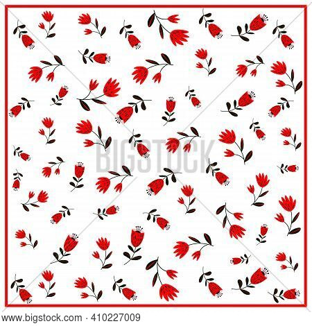 Print For Kerchief, Bandana, Scarf, Handkerchief, Shawl, Neck Scarf. Squared Pattern With Ornament F