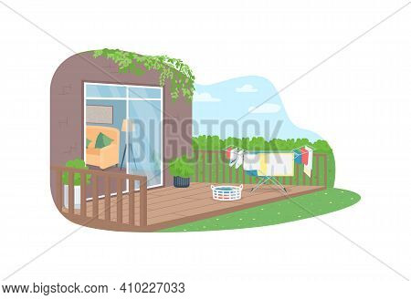 Drying Laundry In Back Yard 2d Vector Web Banner, Poster. Washed Clothes Hang Outside. Outdoor Sprin