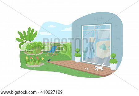 House Backyard Patio 2d Vector Web Banner, Poster. Outdoor Scenery. Suburban Dwelling. Home Garden F