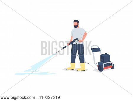 Man With Power Wash Gun Flat Color Vector Faceless Character. Washing Sidewalk. Professional Cleaner