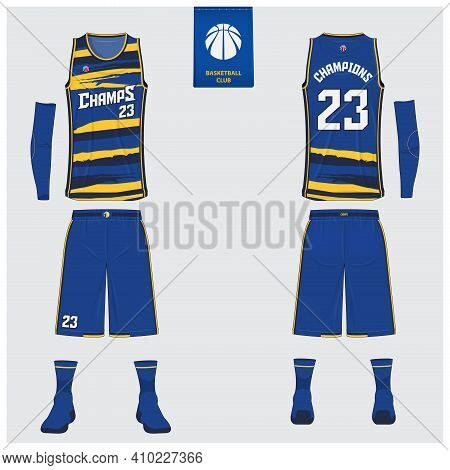Basketball Uniform Mockup Template Design For Basketball Club. Tank Top T-shirt, Sock, Basketball Sh
