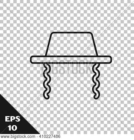 Black Line Orthodox Jewish Hat With Sidelocks Icon Isolated On Transparent Background. Jewish Men In