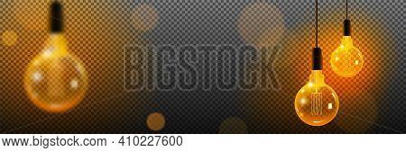 Realistic Loft Style Hanging Lamp. Incandescent Lamp. Vector Illustration. Transparent Background Re